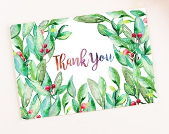 Berries Leaves Blank Watercolor Christmas Thank you card template digital printable instant download floral pattern Leaf greeting card