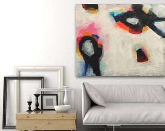 Trace large abstract painting black white textured with touches of bright colors made to order