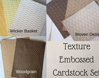 Texture Embossed Cardstock Set/ Woodgrain cardstock/ Wicker embossed cardstock/ scrapbooking supplies/ embossed cardstock set