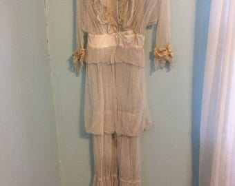 Antique Edwardian/Victorian English netting wedding gown
