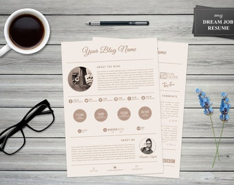 My Dream Job Media Kit Template >> 2-page Modern blog press kit for Word and Photoshop >> DIY Printable >> Professional and Creative Design