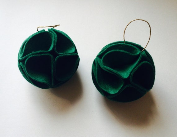 Green Felt Christmas Baubles - Handmade Christmas Decorations