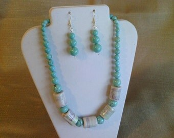 324 Dramatic White, Teal and Lavender Ceramic Marble and Magnesite Turquoise Beads Beaded Necklace