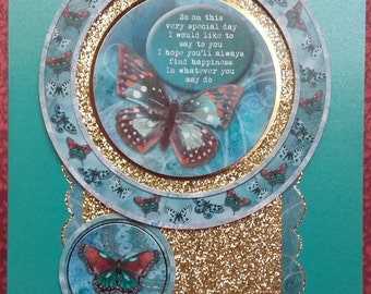 Teal butterfly best wishes card