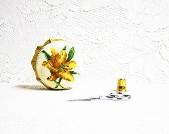 Pincushions, Floral Pincushions, Handmade Pincushion, Needlework Pincushion, Daylily Pincushion, Needlepoint Pincushion, Fabric Pincushion