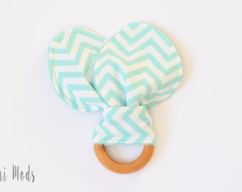 Baby easter basket etsy mint chevron baby organic wood teething ring teething toddler easter basket baby gift negle Choice Image