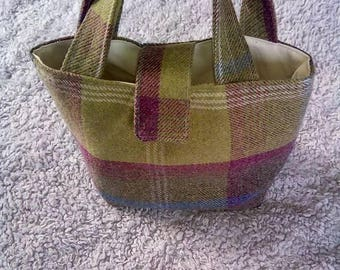 Small green checked handbag