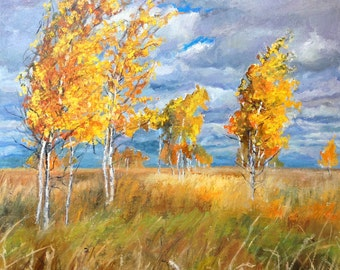 Russia autumn. September painting.Oil on hardboard.Oil on canvas.Landscape oil paintings hadmade.Oil paintings handmade.Bright painting.