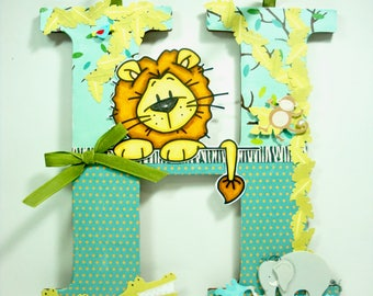 Jungle Nursery Decor, Nursery Decor, Wood Letter Decor, Baby Room Decor, Letter Wall Decor, Baby Shower Gift, Kids Decor, Mixed Media Letter