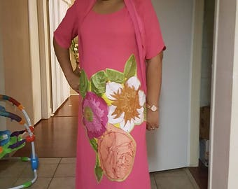 Beautiful Free Size African Patch Work Print Fabric/ US Size 14 to 16/ Flour lenght Dress/ Dress with Matching Head Wrap sold as Set
