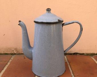 Vintage French Enamelware grey Enamel Coffee Pot 01041711