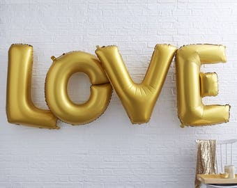 Giant Gold Love Balloon 40"