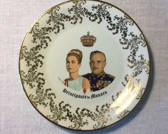 Princess Grace and Prince Rainer Commemorative Plate, French, Ca: 1950s.