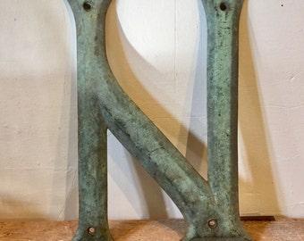 "Antique Bronze Letter ""N"", Large Size, Belgium, Ca: 1905."
