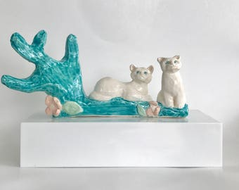Handmade Cat Sculpture Jewelry Holder by NYC Artist Bebe Booth