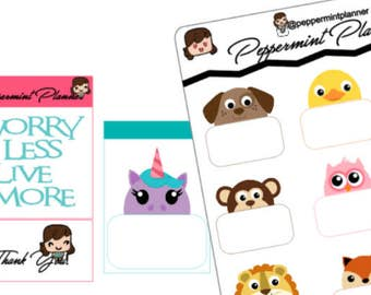 Animal Peek a Boo Boxes Planner Stickers {#234}