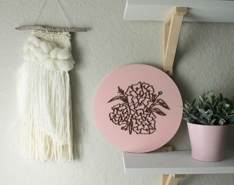Laser Cut Peony Wood Sign • Hand drawn Wooden Floral Sign • Blush and Natural Wood