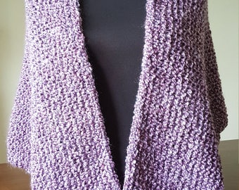 Hand Made, Hand Knit Chunky Purple Shawl, Shawlette, Women's Accessory, shoulder Warmer