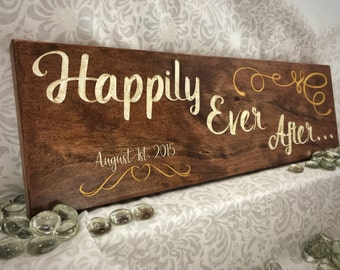 Personalized Happily Ever After Wooden Sing - Wedding Photo Prop - Bridal Gift - Gift for Bride and Groom - Wedding Gift - Anniversary Gift