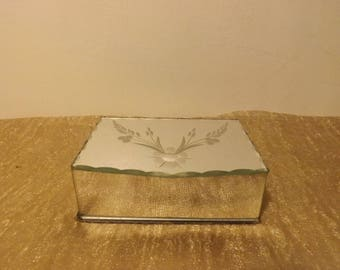 Old Vintage beveled mirror box jewelry box