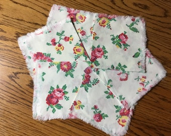 Floral Cotton Napkins with Frayed Edge