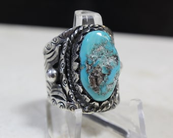 Vintage Navajo Turquoise Sterling Silver Ring #E31