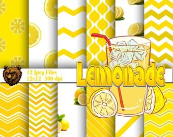 lemon digital paper, lemonade digital paper, lemon background, lemon scrapbook paper, lemonade scrapbook