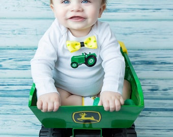 baby boy tractor outfit with bow tie-tractor romper-tractor bodysuit-tractor creeper-tractor one piece-baby tractor one piece-tractor socks