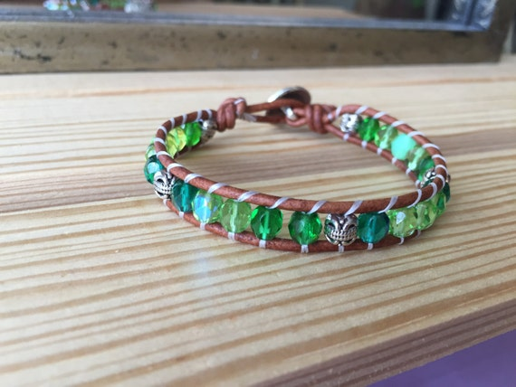 Shop Owner Favorite!!! Green Czech wrap bracelet with silver accent beads, single wrap bracelet, gift, natural, bridesmaid, tree of life