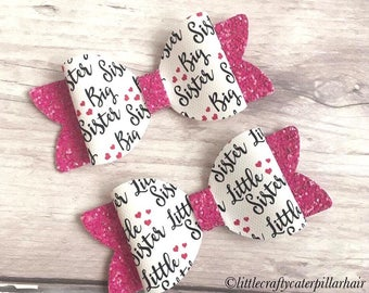 Big sister, little sister bow sets, sister hair accesaccessories, big sis lil sis hair bows, medium hair bows, pink glitter bows, bow sets