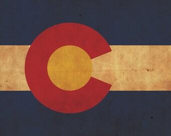 Vintage Colorado Flag on Canvas, Colorado Flag, Wall Art, Colorado Photo, Colorado Print,  Fine Art, Rockies Flag, Single or Multiple Panels