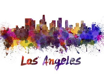Los Angeles skyline watercolor canvas, Los Angeles Canvas Print, Los Angeles wall art, Canvas Wall Art, Watercolor Skyline, Gift Ideas