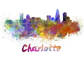 Charlotte skyline watercolor canvas, Charlotte Canvas Print, Charlotte wall art, Charlotte Canvas Wall Art,Charlotte watercolor print canvas