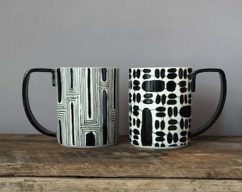 Black and White hand painted Mugs with large handles