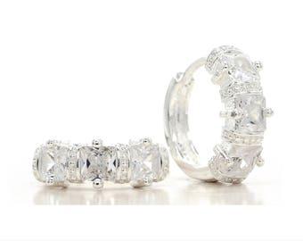 Hallmarked handmade genuine silver earrings, Hoop sterling silver princess gems, Real silver hallmarked hoop white gemstones, Black gift box