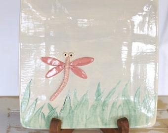 Handmade Pottery Dragonfly Tray