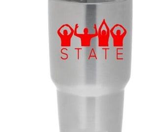 Ohio State Yeti inspired tumbler, O-H-I-O, Ohio State Fan decal, OSU gift, coffee cup, Ohio State Cup, Yeti, Ozark Trail, RTIC, OSU Fan
