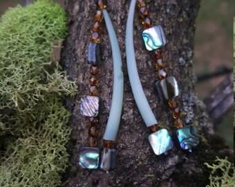 Green Dentalium Dangled Earrings