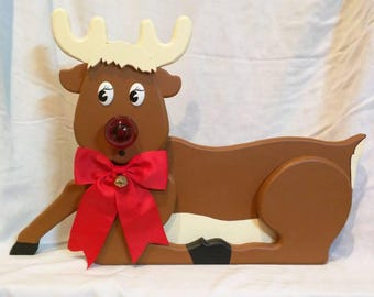 Rudy the Red Nosed Reindeer w/Trough, Wooden Reindeer Statue