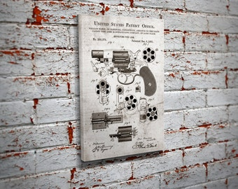 Colt Patent Design Canvas Print Wall Art - Home Decor