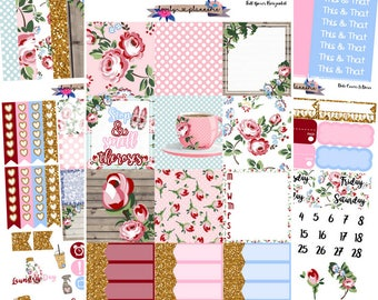 HORIZONTAL KIT, Smell The Roses, Weekly Kit, Planner Stickers, Erin Condren, EC Horizontal, Sticker Kit, Roses