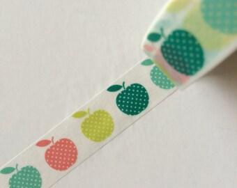15mm x 10m washi masking tape - green, apple (yu)