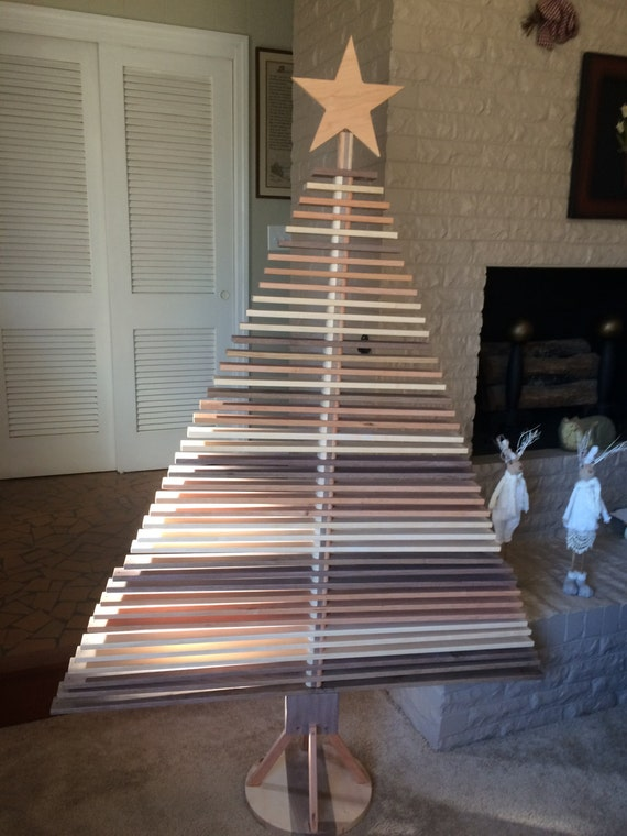 Large Wooden Christmas Tree with Rotating Slats