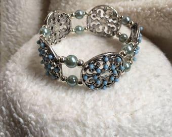 Blue Medallion Bracelet