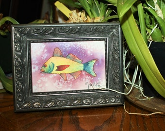 Yellow Fish in Purple. Small Original Watercolor in 3.5 in x 5 in frame.