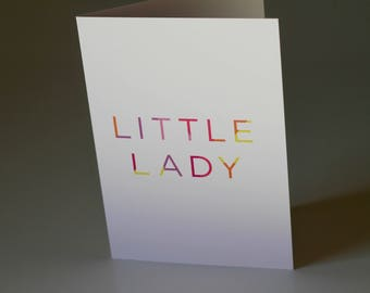 Little Lady Greeting Card, Baby Girl Card, Mum to Be, Baby Shower Card, New Baby Card, Welcome Baby, New Mum Card