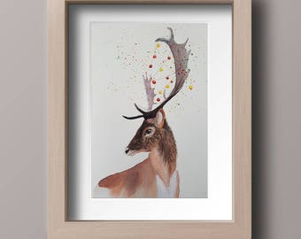 Original watercolor painting, Deer painting, Original fine art, Christmas gift, New Year gift