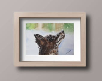 Original watercolor painting, Dog watercolor, Snow dog, Pets watercolor