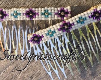 Pair of Native American beaded hair combs- Hair combs- Regalia
