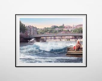 "Poster / poster A3 - photo-collage surrealism - photomontage - ""wave sur Saône"" - Lyon, wave & woman - Wave, women"